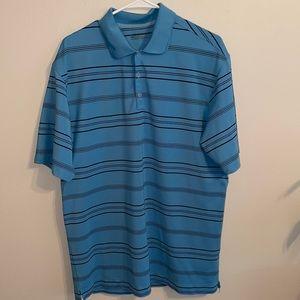 Men's Nike large golf shirt striped blue black